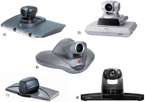 Рисунок 4. Групповые системы ВКС начального уровня: а) Aethra Vega X3; б) Sony PCS-1P; в) Polycom VSX 6000; г) Tandberg 550 MXP; д) AddPac VC-1000.