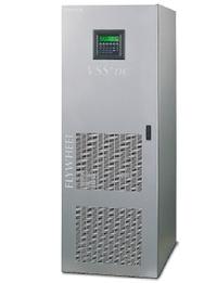 Рисунок 7. Система Socomec Sicon UPS VSS+dc смонтирована в шкафу 63х83х180 см весом 590 кг, где размещаются модули управления, магнитной левитации, преобразователя и маховика. Маховик системы VSS+dc от Socomec Sicon изготовлен из пропитанной эпоксидной смолой углеродной нити и не подвержен разрушению. Включение маховика в параллельную работу с аккумуляторами позволяет эксплуатировать последние в щадящем режиме и значительно увеличить срок их службы.