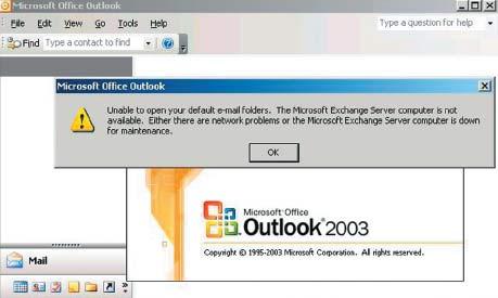 Экран 1. Office Outlook не может подключиться к серверу