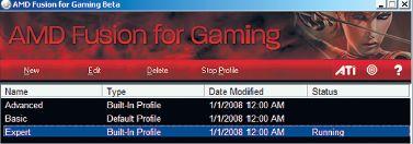 Рабочий момент утилиты AMD Fusion