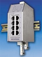Рисунок 6. Новый десятипортовый коммутатор Gigabit Ethernet Industrial Switch от Microsens имеет модульную конструкцию и волоконно-оптические порты: SFP поддерживают Gigabit Ethernet (1000BaseX) и Fast Ethernet (100BaseFX). Для портов SFP предлагаются специальные трансиверы, отвечающие требованиям работы в неблагоприятной среде. Они поддерживают кольцевую топологию (Ethernet Ring) с малым временем восстановления.