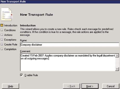 Экран 1. Мастер New Transport Rule
