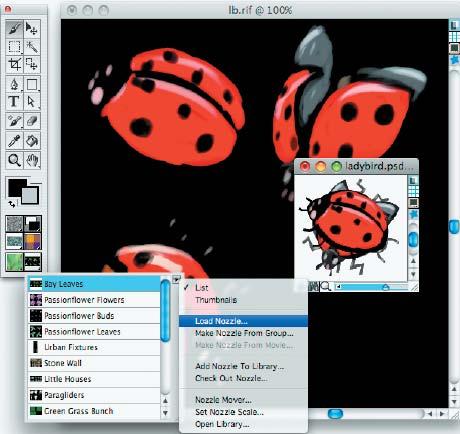 Шаг 6. В той же палитре Nozzle Selector выбираем Load Nozzle и открываем файл из предыдущего шага. Теперь вы можете добавить новый Nozzle в библиотеку. Вам надо выбрать команду Add Nozzle to Library в этой же палитре и придумать своим объектам подходящее название