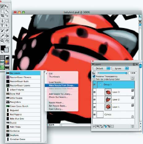 Шаг 5. Этот шаг — самый важный. Превращаем все изображения на слоях в объекты для новой библиотеки. Делается это практически «одной кнопкой». Для начала необходимо сгруппировать слои с объектами, а затем в палитре Nozzle Selector выбрать операцию Make Nozzle from Group. Затем надо просто записать сгенерировавшийся файл на жесткий диск. Все! Это то, до чего доходят считаные единицы пользователей Painter
