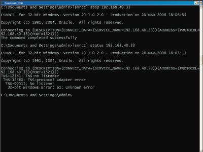 Экран 1. Пример удаленной установки Listener на СУБД Oracle 9 R2
