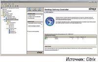 Рисунок 1. В Citrix XenDesktop 4 администратор  централизованно управляет использованием виртуальных настольных систем  посредством Citrix Access Management Console и контроллера Desktop  Delivery Controller.